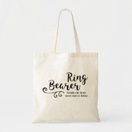 Ring Bearer Wedding Cool Modern Script Typography Tote Bag