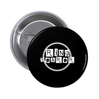 Ring Bearer White on Black Button