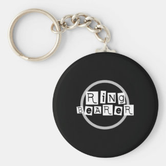 Ring Bearer White on Black Keychain