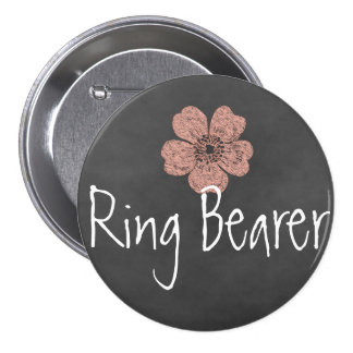 Ring Bearer Wild Peach Roses Chalkboard Pinback Button