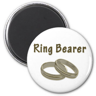 Ring Bearer With Golden Rings 2 Inch Round Magnet