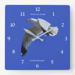 Ring-Billed Gull in Flight Square Wall Clock