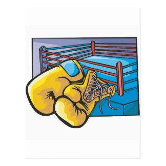 Ring de boxeo y guantes tarjetas postales