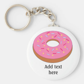Ring Doughnut with Pink Frosting Customizable Keychain