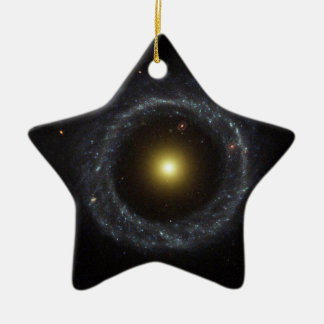 Ring Galaxy - torch light Double-Sided Star Ceramic Christmas Ornament