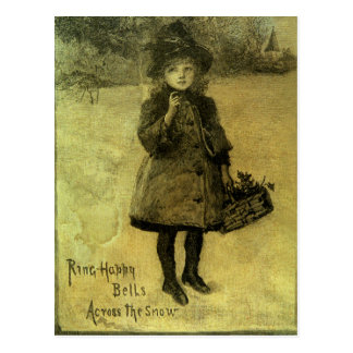 Ring Happy Bells Accross the Snow Victorian Postcard