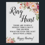 "Ring hunt game Bridal shower pink floral wedding Poster<br><div class=""desc"">Change number of rings into the template, For more customization (change wording, font color, font style ), click on personalize, scroll down and click on link ""click to customize further"". HOW TO PLAY: Hide plastic rings (sold on most craft stores or party stores) around the shower for the guests to...</div>"
