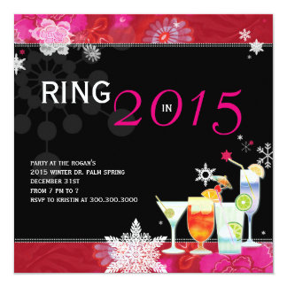 """Ring in 2015 Glamorous New Year's Eve Party Invite 5.25"""" Square Invitation Card"""