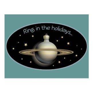 Ring in the holidays Saturn ornament Postcard