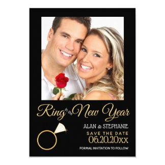 Ring in the New Year Engagement Photo Card