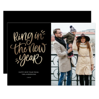 Ring in the New Year Faux Foil Holiday Photo Card