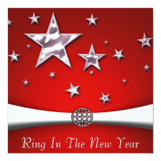"""Ring In The New Year Party Invitations 5.25"""" Square Invitation Card"""