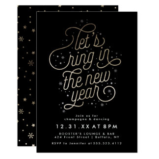 Ring in the New Year Party Invite Faux Gold Foil