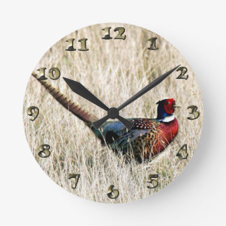 Ring Neck Pheasant in Meadow Round Clock
