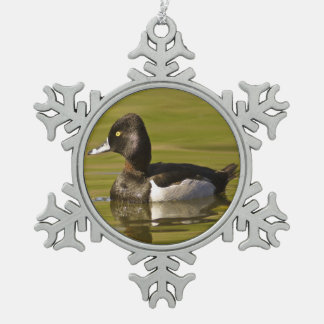 Ring-necked Duck Snowflake Pewter Christmas Ornament