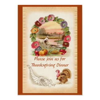Ring of Asters, Turkey and Cornucopia Thanksgiving Card