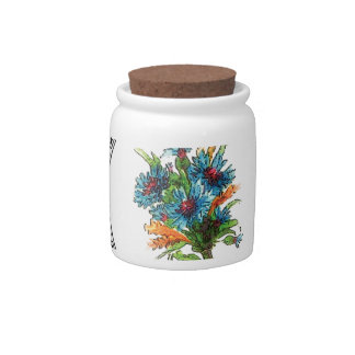 ring of blue flowers candy jar