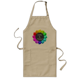 Ring of cubes in rainbow colors long apron