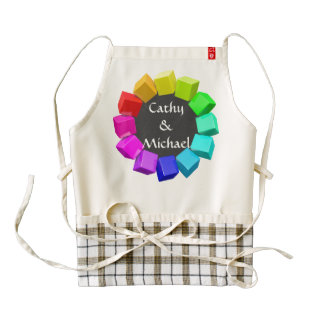 Ring of cubes in rainbow colors zazzle HEART apron