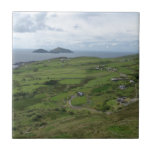 "Ring Of Kerry Ireland Irish Ocean View Tile<br><div class=""desc"">A great view of the Ring of Kerry in Western Ireland. A very popular driving spot for locals and visitors alike,  this is where you see the true green hills of Ireland and its lovely Irish countryside. Also that is a view of the Skellig Islands in the distance</div>"