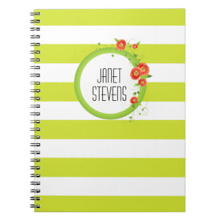 Ring of Poppies Personalized Striped Spiral Notebook