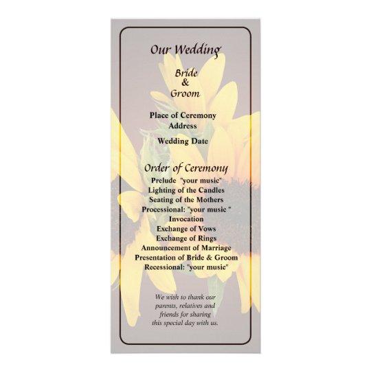 Ring of Sunflowers Wedding Program