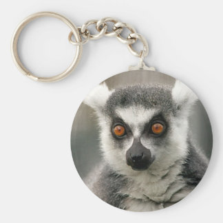 ring tail lemur basic round button keychain
