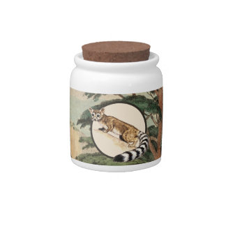 Ring-Tailed Cat In Natural Habitat Illustration Candy Dishes