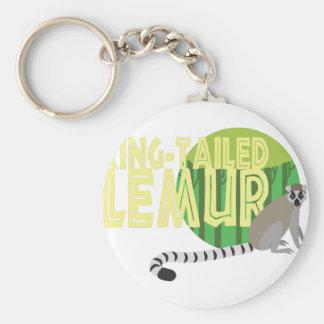 Ring-Tailed Lemur Basic Round Button Keychain