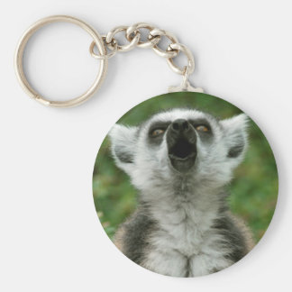 Ring-Tailed Lemur Basic Round Button Keychain