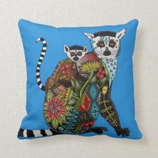 Ring Tailed Lemur Love blue Pillow