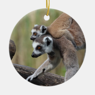 Ring-Tailed Lemur Mother And Baby Ceramic Ornament