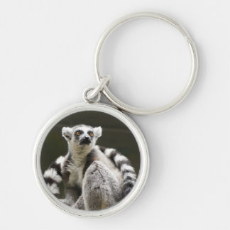 Ring-tailed Lemur Silver-Colored Round Keychain