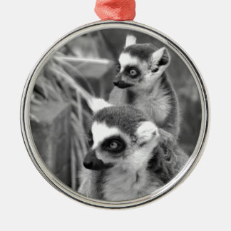 Ring-tailed lemur with baby black and white metal ornament