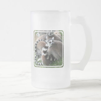 Ring Tailed Lemurs Frosted Beer Mug