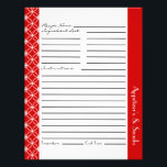 """Ringed Diamonds Recipe Inserts - Red White Flyer<br><div class=""""desc"""">Customizable recipe sheets in a ringed diamond pattern with ample writing space on front and back. Personalize the section header with category name of your choice. Available in a variety of colors as a separate purchase so that you can coordinate with our recipe binders or mix and match to have...</div>"""
