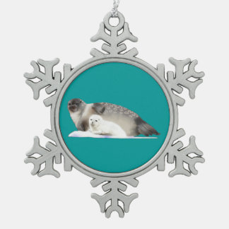 Ringed Seal Snowflake Pewter Christmas Ornament