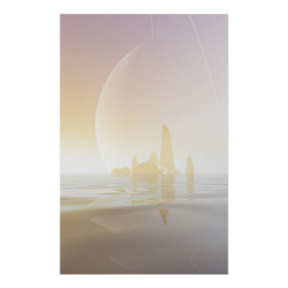 Ringed World over a Cool Sea Poster