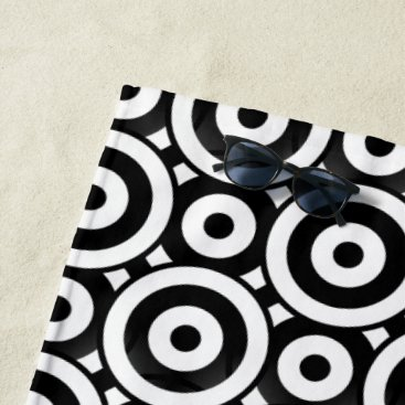 Beach Themed Ringer BW Beach Towel