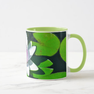 "Ringer Coffee Mug, ""Mauve White Lotus Blossom"" Mug"