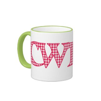 Ringer Coffee Mug, Welsh Cwtch, Red Check Gingham