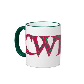Ringer Coffee Mug Welsh Cwtch: Red Green Geometric