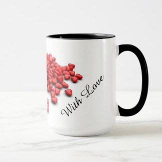 Ringer mug with cute little red hearts