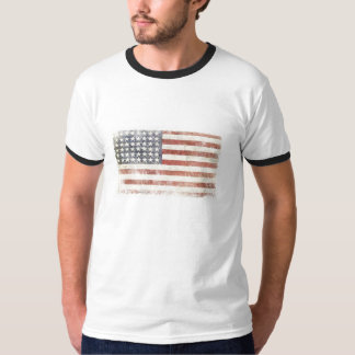 Ringer T-shirt with Distressed USA Flag
