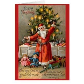 Ringing Bell Santa Christmas Card