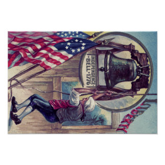 Ringing Independence Bell American Flag Poster