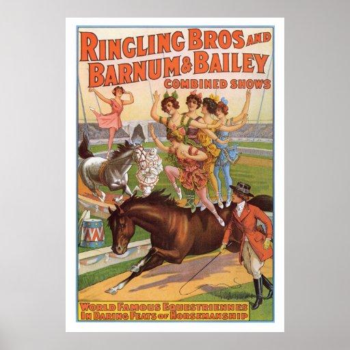 Ringling Bros. Los años 10 del anuncio de Equestri Póster