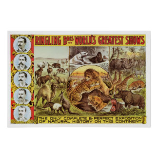 Ringling Bros. Wild Animal Advertisement 1900's Poster