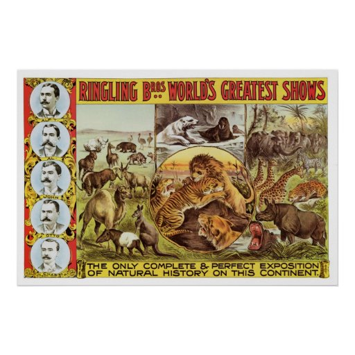 Ringling Bros. Wild Animal Advertisement 1900's Posters