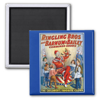 Ringling Brothers & Barnum & Bailey Vintage Clown 2 Inch Square Magnet